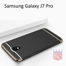3 In 1 Ultra Thin Hard Coated Matte Surface Back Cover for Galaxy J7 Pro - Black
